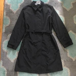 EXPRESS Trench Coat Size L Black Belted Lined VGUC
